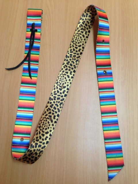 Double Sided Patterned Latigo & Billet Set - Serape & Cheetah